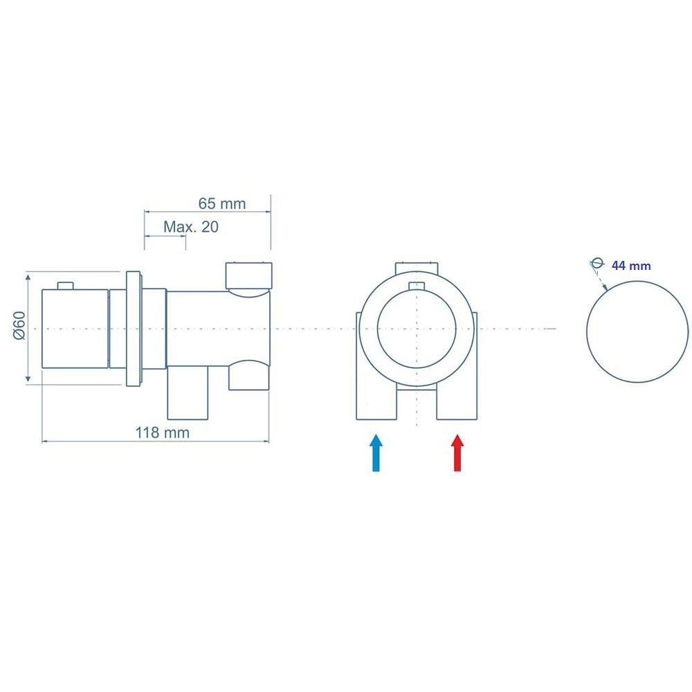 Grifería termostática para cabina hidromasaje.