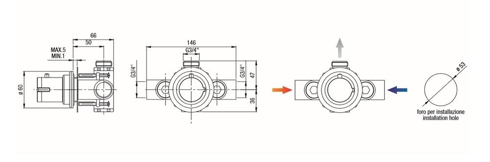 Grifo termostático para cabina de hidromasaje