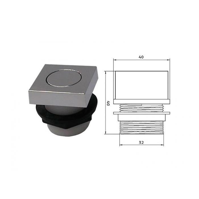 Pulsador neumático cuadrado para bañera hidromasaje